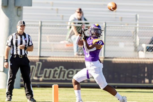 Receiver Cameron Jones scored three touchdowns in the Cal Lutheran University football team's season-ending 59-20 win over visiting Whittier on Saturday afternoon.