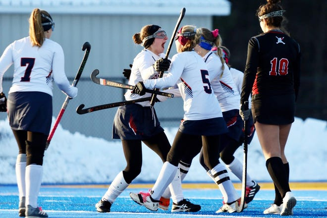 Horace Greeley celebrates Talia Belowich's second half goal in the team's game against Penfield in the NYSPHSAA Class A state final.