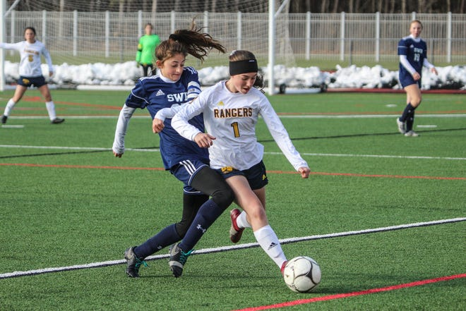 Spencerport's Lily Brongo shields the ball from Shoreham-Wading River's Sara Hobbes during the NYSPHSAA Class A girls soccer championship game at SUNY Cortland on Sunday, Nov. 17, 2019.