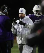 Acting New Rochelle coach Rich Tassello during the Class AA semifinal against Proctor at Mahopac High School Nov. 16, 2019.