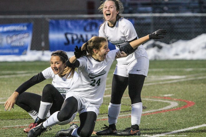 Pleasantville's Katie Moses reacts after scoring the go-ahead goal, with 4.0 seconds remaining, in the Panthers' 3-2 championship game victory over Central Valley Academy.
