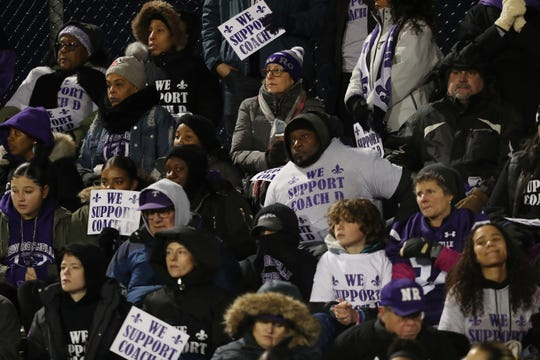 Supporters for New Rochelle coach Lou DiRienzo fill the stands during the state Class AA semifinal between New Rochelle and Proctor at Mahopac High School Nov. 16, 2019.