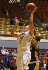 Midwestern State's Elizabeth Cathcart puts in a layup against Texas Wesleyan Saturday, Nov. 16, 2019, at D.L. Ligon Coliseum.
