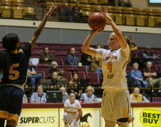 Midwestern State's Mica Schneider shoots against Texas Wesleyan Saturday, Nov. 16, 2019, at D.L. Ligon Coliseum.