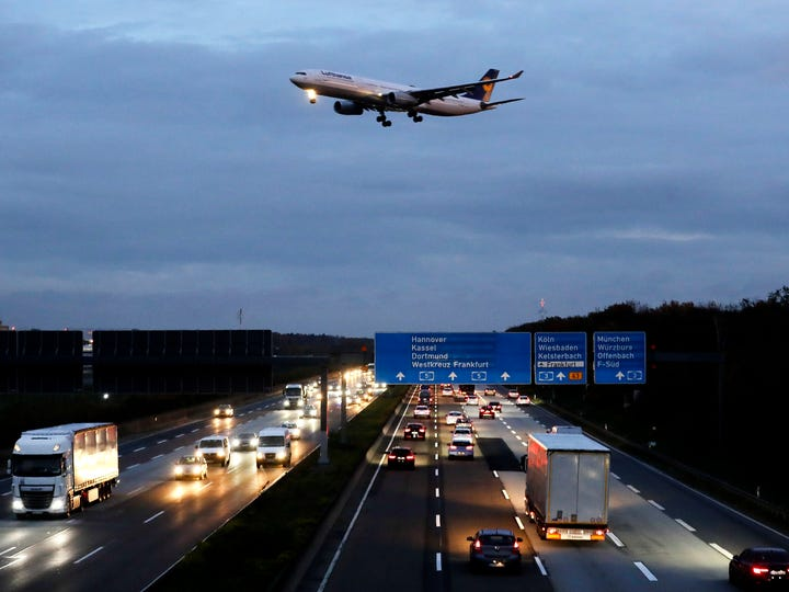 A Lufthansa aircraft approaches the runway at the airport in Frankfurt, Germany, Thursday, Nov. 7, 2019. The flight attendants' union Ufo is on strike at Lufthansa for 48 hours.