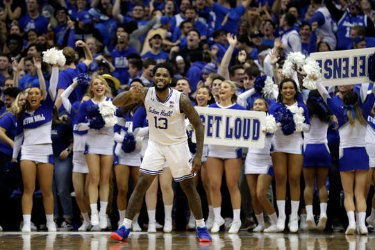 Seton Hall guard Myles Powell (13) reacts against Michigan State during the second half of an NCAA college basketball game Thursday, Nov. 14, 2019, in Newark, N.J. Michigan State won 76-73. (AP Photo/Adam Hunger)