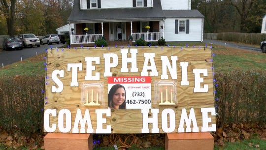 A large sign Monday, November 18, 2019, outside the Parze's family home in Freehold asks missing Stephanie to come home.  The woman has been missing since the night before Halloween.