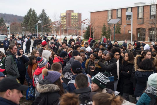 About 200 protesters at Binghamton University argued against displays advocating for gun rights Thursday, Nov. 15, 2019.