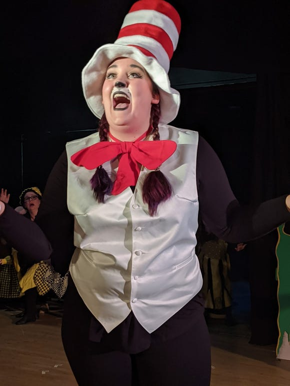 "Angela McDermott plays the Cat in the Hat in WWCA's production of ""Seussical."""