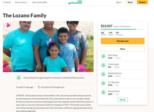 A GoFundMe Page was created to help pay for funeral expenses for Olivia Lozano, 7. Olivia was involved in a crash near Alice and died Nov. 14, 2019.