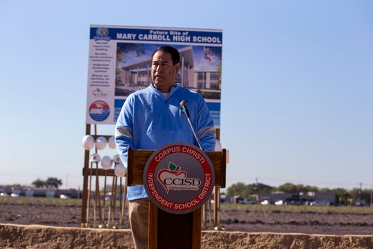 Roland Hernandez, superintendent of the Corpus Christi Independent School District, speaks during the groundbreaking of the new Carroll High School on Monday, November 2019. The school is scheduled to open in August 2022.