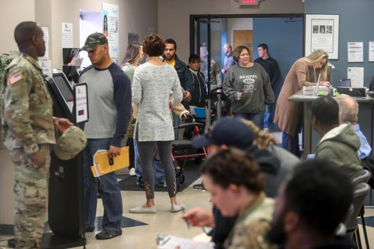 A swamped lobby is standing room only when residents arrive for various services as well as REAL ID at the Drivers Service Center in Clarksville, Tenn., on Monday, Nov. 18, 2019.