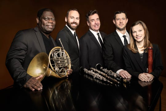 On Friday, Nov. 22, The New Jersey Youth Symphony (NJYS) will host a Day of Winds featuring the Montclair Wind Quintet. Pictured are (left to right) Jeffrey Scott (French horn), Ryan Walsh (oboe), Robert Cart (flute), Benjamin Baron (clarinet), and Sasha Enegren (bassoon).