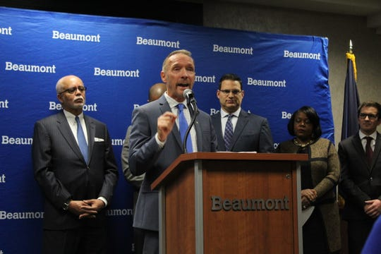 Oakland County Executive David Coulter at a news conference on Nov. 18, 2019 announcing a new regional transit initiative at Beaumont Hospital in Royal Oak.