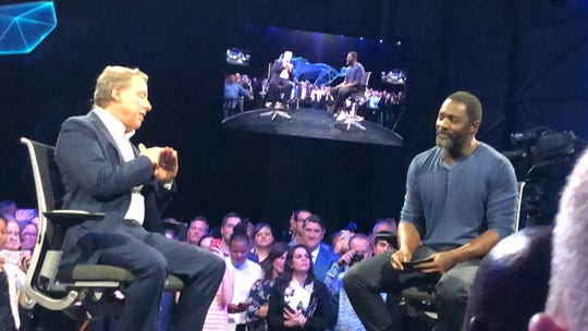 Bill Ford and Idris Elba at unveiling of 2021 #FordMustang Mach-E electric SUV.