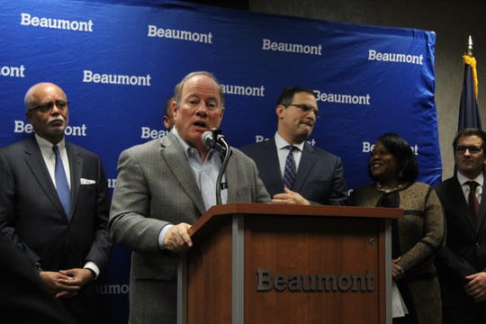Detroit Mayor Mike Duggan at a news conference on Nov. 18, 2019 announcing a new regional transit initiative at Beaumont Hospital in Royal Oak.