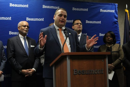 Rep. Jason Sheppard (R-Temperance) at a news conference on Nov. 18, 2019 announcing a new regional transit initiative at Beaumont Hospital in Royal Oak.