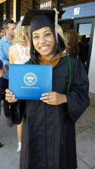 Priscilla Williams is photographed at her graduation from Oral Roberts University, prior to her serious brain injury.