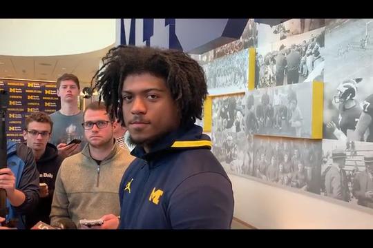Cam McGrone speaks to the media Monday in Ann Arbor.