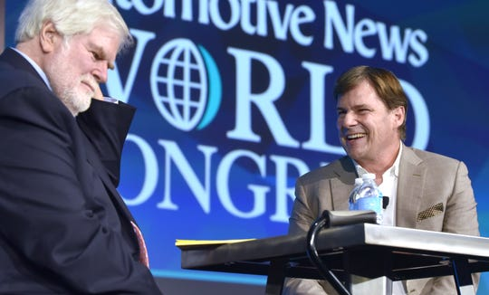 Crain Communications, Inc. Chairman and Automotive News Editor-in-Chief Keith Crain, left, interviews Jim Farley, Executive V.P. & President, Global Markets, Ford Motor Company, in this January 15, 2019, file photo.