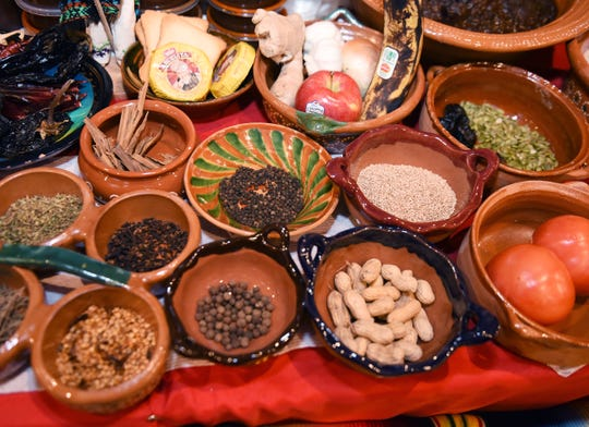 Some of the items used to make Holy Mole sauce.  Traditional Mexican mole is a sauce made with chili peppers, tomatoes and other seasonings with be featured at the annual Holy Mole contest at El Kiosko banquet hall in Detroit on Nov. 17, 2019.