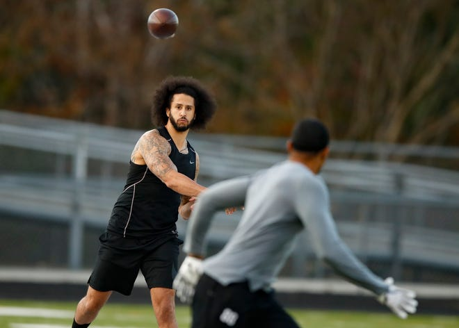 Free agent quarterback Colin Kaepernick held a workout for NFL football scouts and media on Saturday.