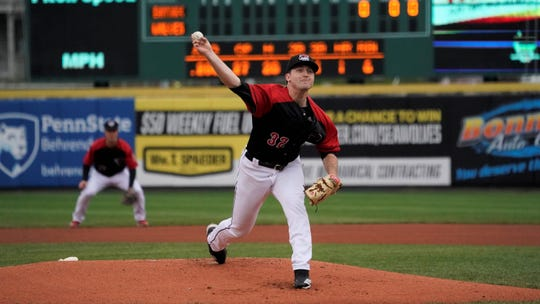 Casey Mize  pitches for the Erie SeaWolves during the 2019 season.