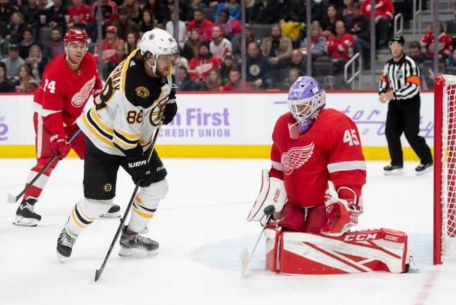 Red Wings goaltender Jonathan Bernier (45) helped Detroit dump Boston this month.