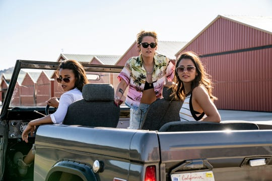 "This image released by Sony Pictures shows, from left, Ella Balinska, Kristen Stewart and Naomi Scott in the film, ""Charlie's Angels."""