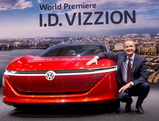 VW CEO Herbert Diess presents new I.D. Vizzion at the 88th Geneva International Motor Show in this March 6, 2018 file photo. Diess said Monday, Nov. 18, 2019, that Tesla may find Germany a more accommodating place for manufacturing than its home state of California.