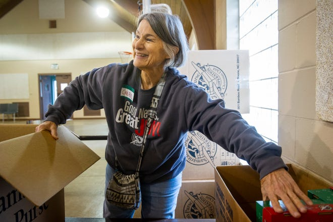 """""""We just want these kids to know they have someone who loves them,"""" said Operation Christmas Child Logistics Coordinator Cheryl Bingemer of Newburgh at First Baptist Church in Evansville,  Monday afternoon. The organization will be accepting donations at First Baptist Church until Nov. 25."""