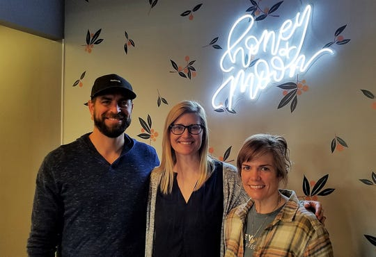 The three partners in the new Honey + Moon Kitchen: from left, Zac Parsons, Jessica Parsons, and Caroline Fardig.