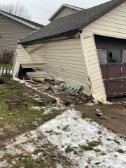 A garage was badly damaged Sunday, Nov. 18 on North Drummond Street in Waupun when a driver lost control and crashed into it.