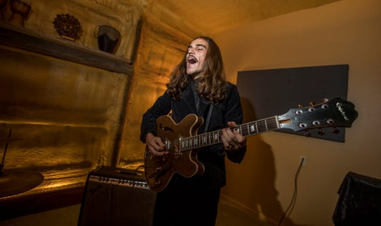 Jeremy Roberts, 22, of Fort Myers, is the guitarist for the band The Epic. The band is one of several artists being produced by Farmadelica Sound in Pine Island.