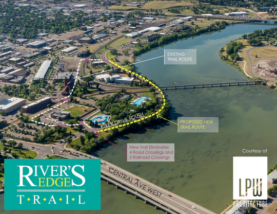 A new segment of River's Edge Trail will run between the Missouri River and River Drive South from Broadwater Bay to Electric City Water Park.