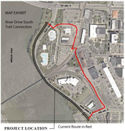 Construction of a new segment of River's Edge Trail (shown in black) will eliminate the current circuitous route (in red) through the Police Department parking lot, which is dangerous due to the potential for conflicts between vehicles and bicyclists/pedestrians, according to the city of Great Falls.