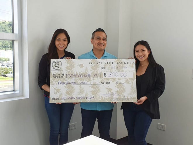 Guam Gift Baskets also made a $500 donation to the University of Guam PMBA Cohort XV program on Monday, Sept. 30. From left: Tina Thai, student of the Professional Master's in Business Administration of the University of Guam; Charlie Hermosa and Kylene Hsieh, student of the Professional Master's in Business Administration of the University of Guam.