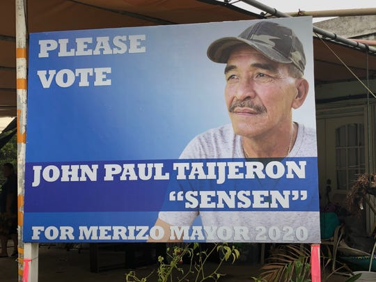 "Signs up: Potential 2020 Merizo mayoral candidate John Paul ""Sensen"" Taijeron's team has started putting up campaign signs."