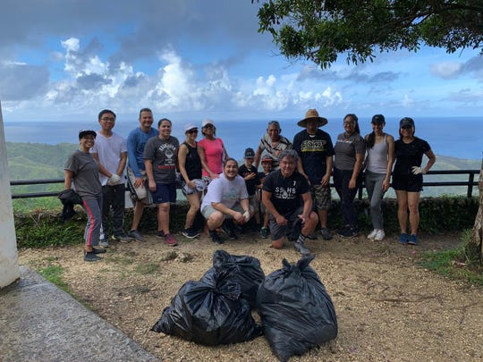 Independent Guåhan held a clean up on Oct. 2 at the Cetti Bay Overlook Park. More than 20 volunteers showed up early Saturday morning to help beautify the park by collecting trash and clearing foliage. Independent Guåhan adopted the park earlier this year and also painted a mural on the park's retaining wall.