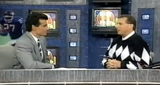 Former Washington Catholic junior varsity basketball coach Kevin Doyle (right) appeared with CNN Sports' Nick Charles in 1993.