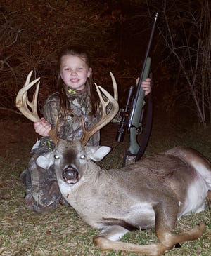Kate Fortner, 8, of Foxworth took this big 12-point deer while hunting with her mother during youth season.