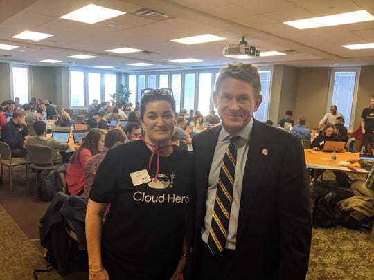 Leslie Redd, Google, with Randy Boyd, UT Interim President, at the Google Cloud Hero event at the University of Tennessee in Knoxville.