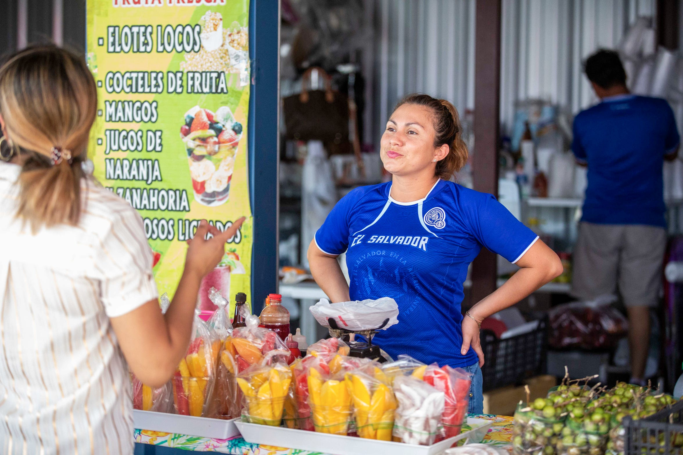 "Ana Sylvia Enriquez, proprietor of ""Fruteria Dany"" at the West Bank Flea Market where on the weekends vendors feature food and goods representing numerous countries  in a former storage unit facility in Harvey, Louisiana."
