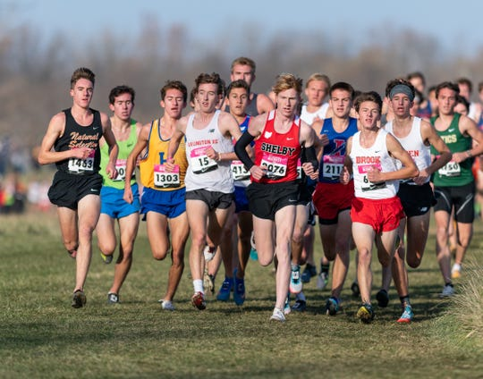 Brighton's Jack Spamer (far left) qualified for the Nike Cross Nationals by placing fifth in the Midwest regional meet on Saturday, Nov. 16, 2019.