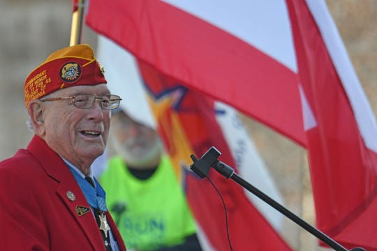 "Hershel ""Woody"" Williams, Medal of Honor recipient and survivor of the Battle of Iwo Jima, spoke during the dedication of the Gold Star Families Memorial Monument."