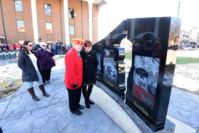 Gold Star family members were the first to see the memorial outside the Richland County Courthouse during an unveiling ceremony Monday morning.