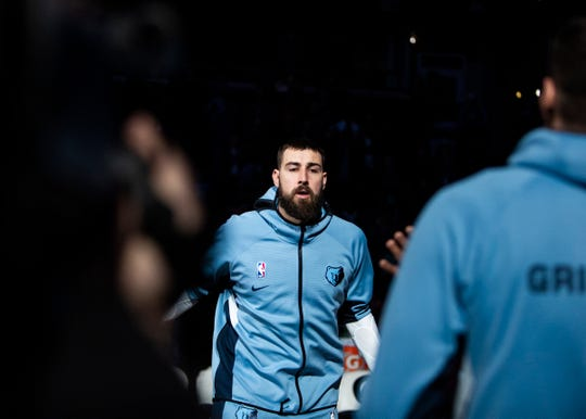Memphis Grizzlies center Jonas Valanciunas (17), as he's introduced before playing the Denver Nuggets at the FedEx Forum on Sunday, Nov. 17, 2019.