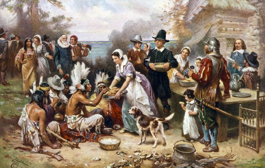 Jean Leon Gerome Ferris: The First Thanksgiving, 1621