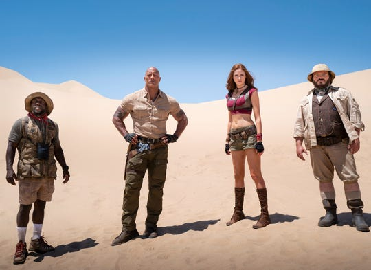 "The reluctant gamers, and their avatars (from left, Kevin Hart, Dwayne Johnson, Karen Gillan and Jack Black), are back for another round in ""Jumanji: The Next Level."""