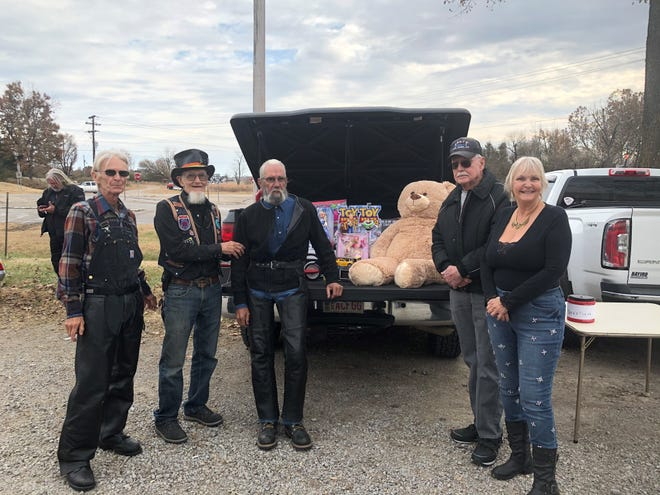 The 24th annual ABATE Toy Run raise $775 and at truck load of toys for Christmas Wish. Pictured are (from left) Gary Grimm, ABATE District 16 Vice President; Ray Coahran, ABATE District 16 member; Pat McLean, ABATE District 16 President; Jay Lanning, ABATE District 16 Sergeant at Arms; and Laura Frasco,  ABATE District 16 Secretary.